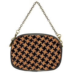 Houndstooth2 Black Marble & Light Maple Wood Chain Purses (one Side)