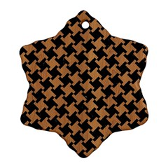 Houndstooth2 Black Marble & Light Maple Wood Ornament (snowflake)