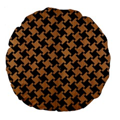 Houndstooth2 Black Marble & Light Maple Wood Large 18  Premium Flano Round Cushions