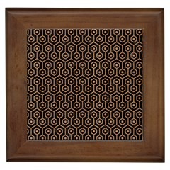 Hexagon1 Black Marble & Light Maple Wood Framed Tiles