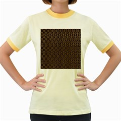Hexagon1 Black Marble & Light Maple Wood Women s Fitted Ringer T Shirts