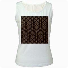 Hexagon1 Black Marble & Light Maple Wood Women s White Tank Top