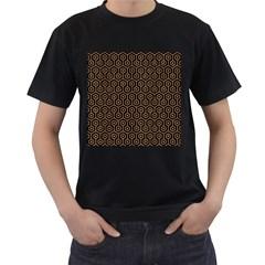 Hexagon1 Black Marble & Light Maple Wood Men s T Shirt (black)