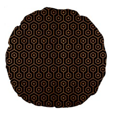 Hexagon1 Black Marble & Light Maple Wood Large 18  Premium Flano Round Cushions