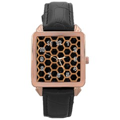 Hexagon2 Black Marble & Light Maple Wood Rose Gold Leather Watch