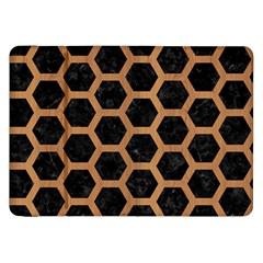 Hexagon2 Black Marble & Light Maple Wood Samsung Galaxy Tab 8 9  P7300 Flip Case