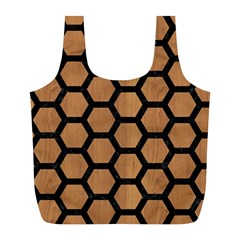 Hexagon2 Black Marble & Light Maple Wood (r) Full Print Recycle Bags (l)