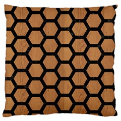 Hexagon2 Black Marble & Light Maple Wood (r) Standard Flano Cushion Case (one Side)