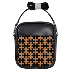 Puzzle1 Black Marble & Light Maple Wood Girls Sling Bags