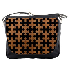 Puzzle1 Black Marble & Light Maple Wood Messenger Bags