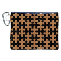 Puzzle1 Black Marble & Light Maple Wood Canvas Cosmetic Bag (xxl)
