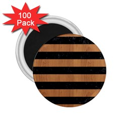 Stripes2 Black Marble & Light Maple Wood 2 25  Magnets (100 Pack)