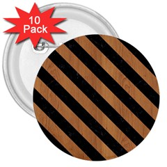 Stripes3 Black Marble & Light Maple Wood (r) 3  Buttons (10 Pack)