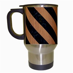 Stripes3 Black Marble & Light Maple Wood (r) Travel Mugs (white)