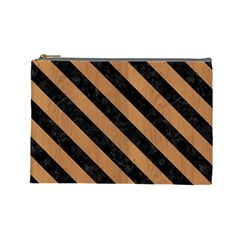 Stripes3 Black Marble & Light Maple Wood (r) Cosmetic Bag (large)