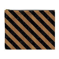 Stripes3 Black Marble & Light Maple Wood (r) Cosmetic Bag (xl)