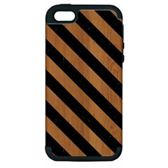 Stripes3 Black Marble & Light Maple Wood (r) Apple Iphone 5 Hardshell Case (pc+silicone)