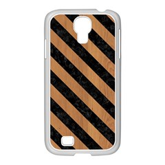 Stripes3 Black Marble & Light Maple Wood (r) Samsung Galaxy S4 I9500/ I9505 Case (white)