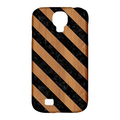 Stripes3 Black Marble & Light Maple Wood (r) Samsung Galaxy S4 Classic Hardshell Case (pc+silicone)