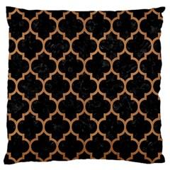 Tile1 Black Marble & Light Maple Wood Large Flano Cushion Case (one Side)