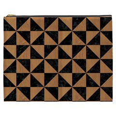 Triangle1 Black Marble & Light Maple Wood Cosmetic Bag (xxxl)