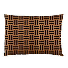 Woven1 Black Marble & Light Maple Wood (r) Pillow Case (two Sides)