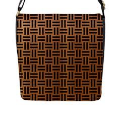 Woven1 Black Marble & Light Maple Wood (r) Flap Messenger Bag (l)