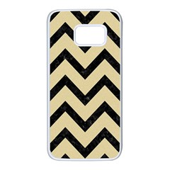 Chevron9 Black Marble & Light Sand (r) Samsung Galaxy S7 White Seamless Case