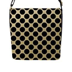 Circles2 Black Marble & Light Sand (r) Flap Messenger Bag (l)