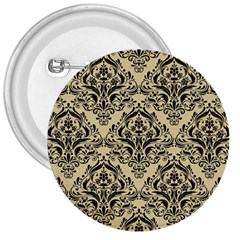 Damask1 Black Marble & Light Sand (r) 3  Buttons