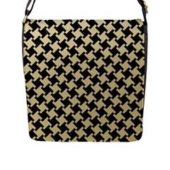 Houndstooth2 Black Marble & Light Sand Flap Messenger Bag (l)