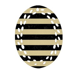 Stripes2 Black Marble & Light Sand Ornament (oval Filigree)
