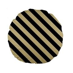 Stripes3 Black Marble & Light Sand (r) Standard 15  Premium Flano Round Cushions