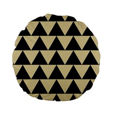 Triangle2 Black Marble & Light Sand Standard 15  Premium Round Cushions