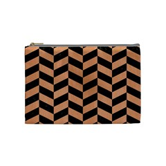 Chevron1 Black Marble & Natural Red Birch Wood Cosmetic Bag (medium)