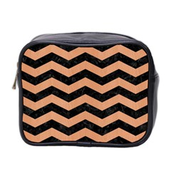 Chevron3 Black Marble & Natural Red Birch Wood Mini Toiletries Bag 2 Side