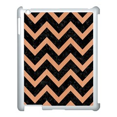 Chevron9 Black Marble & Natural Red Birch Wood Apple Ipad 3/4 Case (white)