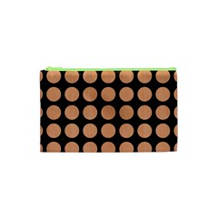 Circles1 Black Marble & Natural Red Birch Wood Cosmetic Bag (xs)