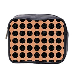 Circles1 Black Marble & Natural Red Birch Wood (r) Mini Toiletries Bag 2 Side