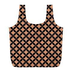 Circles3 Black Marble & Natural Red Birch Wood (r) Full Print Recycle Bags (l)