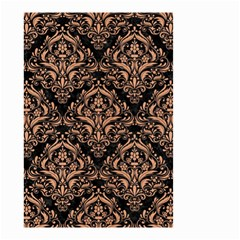 Damask1 Black Marble & Natural Red Birch Wood Small Garden Flag (two Sides)