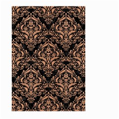 Damask1 Black Marble & Natural Red Birch Wood Large Garden Flag (two Sides)