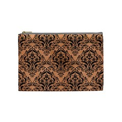 Damask1 Black Marble & Natural Red Birch Wood (r) Cosmetic Bag (medium)