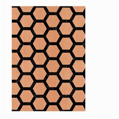 Hexagon2 Black Marble & Natural Red Birch Wood (r) Large Garden Flag (two Sides)