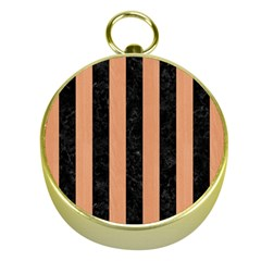 Stripes1 Black Marble & Natural Red Birch Wood Gold Compasses