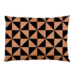 Triangle1 Black Marble & Natural Red Birch Wood Pillow Case (two Sides)