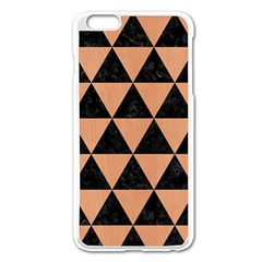 Triangle3 Black Marble & Natural Red Birch Wood Apple Iphone 6 Plus/6s Plus Enamel White Case