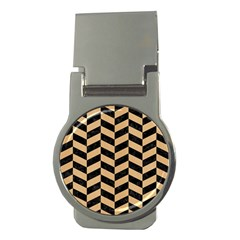 Chevron1 Black Marble & Natural White Birch Wood Money Clips (round)