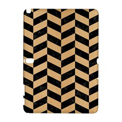 Chevron1 Black Marble & Natural White Birch Wood Galaxy Note 1