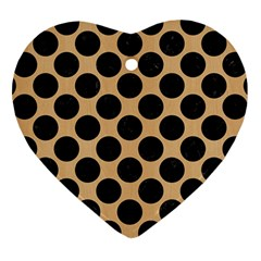 Circles2 Black Marble & Natural White Birch Wood (r) Heart Ornament (two Sides)